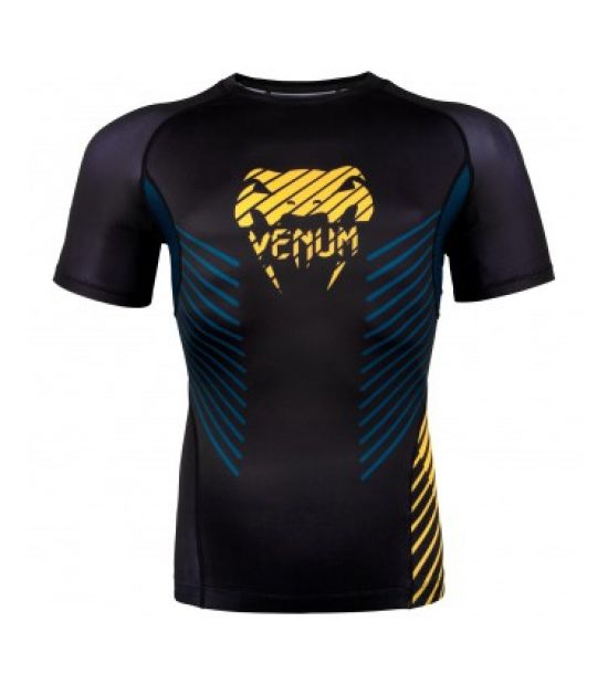 Рашгард VENUM PLASMA RASHGUARD - SHORT SLEEVES - BLACK/YELLOW