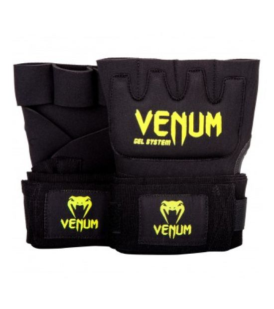 Бинты боксерские  VENUM KONTACT GEL GLOVE WRAPS-BLACK/NEO YELLOW (116)