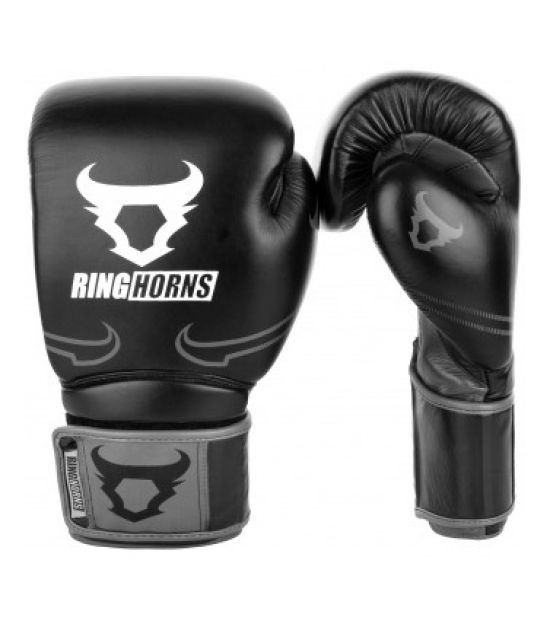 Боксерские перчатки RINGHORNS DESTROYER BOXING GLOVES - LEATHER - BLACK/GREY