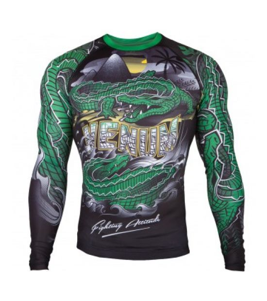 Рашгард  VENUM CROCODILE RASHGUARD - BLACK/GREEN - LONG SLEEVES