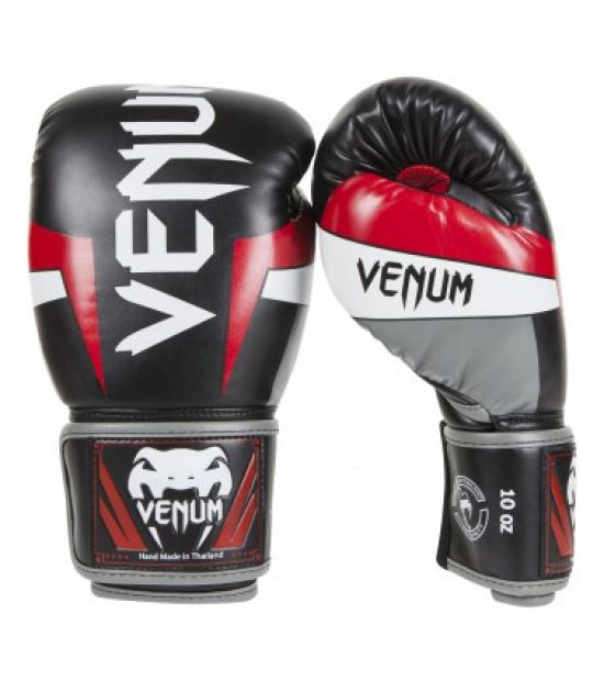 Боксерские перчатки VENUM ELITE BOXING GLOVES - BLACK/RED/GREY
