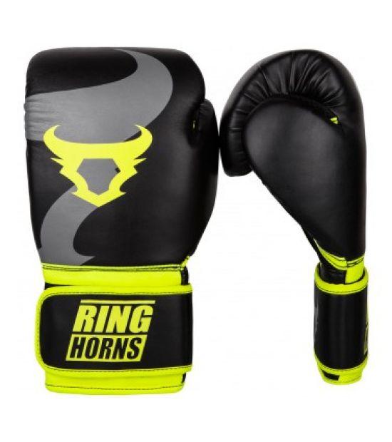 Боксерские перчатки  RINGHORNS CHARGER BOXING GLOVES - BLACK/NEO YELLOW