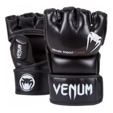 Перчатки для ММА  VENUM IMPACT MMA GLOVES - BLACK - SKINTEX LEATHER